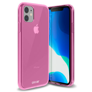 Custom moulded for the iPhone 11, this pink FlexiShield gel case from Olixar provides excellent protection against damage as well as a slimline fit for added convenience.