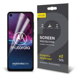 Keep your Motorola One Action screen in pristine condition with this Olixar scratch-resistant screen protector 2-in-1 pack. Ultra responsive and easy to apply, these screen protectors are the ideal way to keep your display looking brand new.