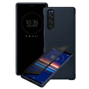 This official Style Cover View in Blue from Sony houses your Xperia 5, providing protection and full functionality through the see-through touchscreen font cover, allowing you to view and action incoming messages and calls.