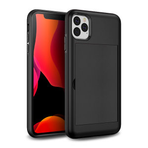 Protect your iPhone 11 Pro from bumps, scrapes and drops with the Amour Vault case in black from Olixar. Featuring a protective hybrid design and a concealed storage area which holds up to two credit cards or ID.