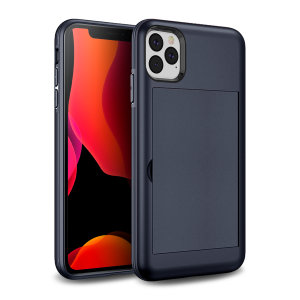 Protect your iPhone 11 Pro from bumps, scrapes and drops with the Amour Vault case in navy from Olixar. Featuring a protective hybrid design and a concealed storage area which holds up to two credit cards or ID.