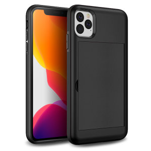 Protect your iPhone 11 Pro Max from bumps, scrapes and drops with the Amour Vault case in black from Olixar. Featuring a protective hybrid design and a concealed storage area which holds up to two credit cards or ID.