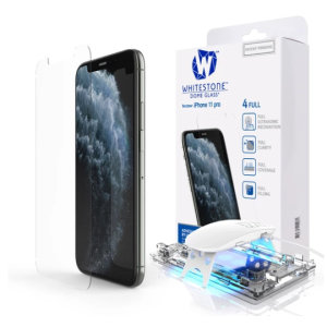 The Whitestone Dome Glass screen protector for iPhone 11 Pro Max uses a UV lamp with a proprietary UV adhesive installation to ensure a total and perfect fit for your device. Featuring 9H hardness for absolute protection, as well as 100% touch sensitivity