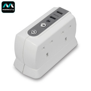 Vastly increase your charging options with this 4 plug extension block by Masterplug featuring an extended 2M power lead, surge protection and two built-in 2.1A  USB ports for fast charging, your devices will be charged in no time.