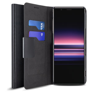 Protect your Sony Xperia 5 with this durable and stylish black wallet leather-style case by Olixar. What's more, this case transforms into a handy stand to view media.