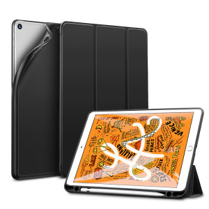 Protect your iPad 10.2 2019 with this supremely functional Black case with viewing stand feature, and compartment for your Apple Pencil. Also features smart sleep / wake functionality.