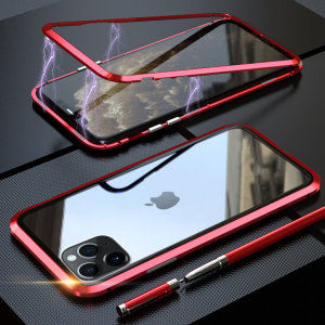 Protect your iPhone 11 Pro Max's back and sides with this unique Black/Red aluminium bumper with glass back and front. The bumper protects the outer edges while the tempered glass plate protects the rear and front.