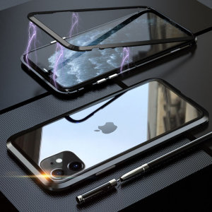 Protect your iPhone 11's back and sides with this unique Black aluminium bumper with glass back and front. The bumper protects the outer edges.