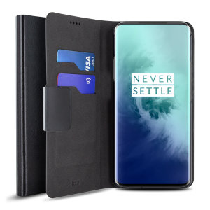 Olixar Leather-Style OnePlus 7T Pro Wallet Stand Case  - Black