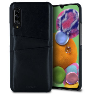 Designed for the Samsung Galaxy A90 5G, this black executive leather-style case from Olixar provides a perfect fit and durable protection against scratches, knocks and drops with the added convenience of 2 RFID protected credit card-sized slots.