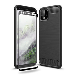 Olixar Sentinel Google Pixel 4 Case & Glass Screen Protector - Black