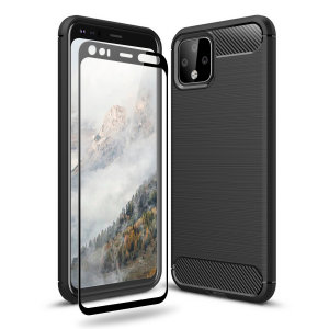 Olixar Sentinel Google Pixel 4 XL Case & Glass Screen Protector -Black