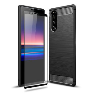 Flexible rugged casing with a premium matte finish non-slip carbon fibre and brushed metal design, the Olixar Sentinel case in black keeps your Sony Xperia 5 protected from 360 degrees with the added bonus of a tempered glass screen protector.