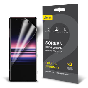 Keep your Sony Xperia 5 screen in pristine condition with this Olixar scratch-resistant screen protector 2-in-1 pack.
