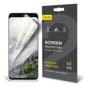 Keep your Google Pixel 4 XL's screen in pristine condition with this Olixar scratch-resistant screen protector 2-in-1 pack.