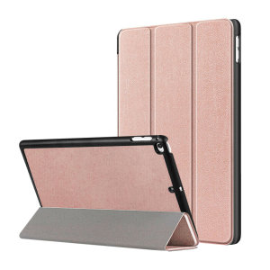 "Protect your iPad 10.2"" 2019 / 2020 with this supremely functional rose gold case with viewing stand feature. Also features smart sleep / wake functionality."