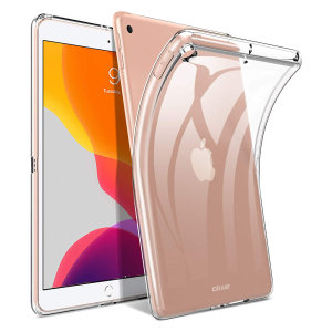 "Custom moulded for the iPad 10.2"" 2019 and iPad 10.2"" 2020, this clear FlexiShield case by Olixar provides slim fitting and durable protection against damage."