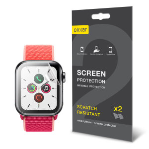Keep your Apple Watch Series SE, 6, 5, 4 40mm Frontier or Classic smartwatch screen in pristine condition with this Olixar scratch-resistant TPU screen protector 2-in-1 pack.