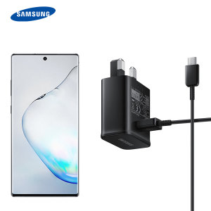 A genuine black Samsung UK adaptive fast mains charger for your Samsung Galaxy Note 10 Plus smartphone. This is identical to the black charger supplied with the Samsung Galaxy Note 10 Plus. Comes complete with an official 1.2m Samsung USB-C cable.