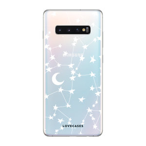 LoveCases Samsung Galaxy S10 Plus Gel Case - White Stars And Moons