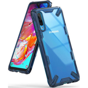 Keep your Samsung Galaxy A70s protected from bumps and drops with the Rearth Ringke Fusion X tough case in blue. Featuring a 2-part, Polycarbonate design, this case lives up to military drop-test standards so you can rest assured that your device is safe