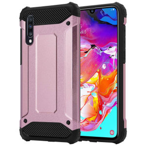 Protect your Samsung Galaxy A70s from bumps and scrapes with this Rose Gold Delta Armour case from Olixar. Comprised of an inner TPU section and an outer impact-resistant exoskeleton.