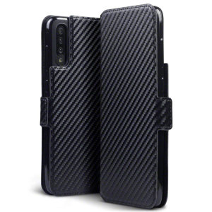 All the benefits of a wallet case but far more streamlined. The Olixar Carbon Fibre Textured Low Profile in black is the perfect partner for the the Samsung Galaxy A70s owner on the move. What's more, this case transforms into a handy stand to view media.