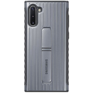 This official Samsung Rugged Protective Cover Case in silver is designed and military-grade certified to provide protection for your Samsung Galaxy Note 10. The case includes an integrated kickstand at the back to provide convenience watching videos.