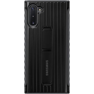 This official Samsung Rugged Protective Cover Case in black is designed and military-grade certified to provide protection for your Samsung Galaxy Note 10. The case includes an integrated kickstand at the back to provide convenience watching videos.
