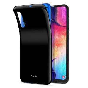 Custom moulded for the Samsung Galaxy A50S, this solid black FlexiShield case by Olixar provides slim fitting and durable protection against damage.