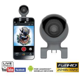 Con esta increíble cámara de 360 grados podrás entrar en una nueva dimensión fotográfica. Simplemente se debe conectar la cámara al puerto USB-C o Micro USB del smartphone y nada se te escapará.