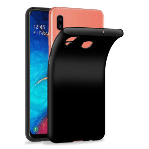 Custom moulded for the Samsung Galaxy A20, this solid black FlexiShield case by Olixar provides slim fitting and durable protection against damage.