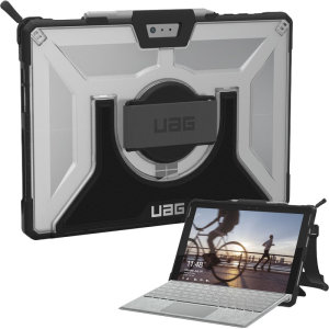The UAG Plasma semi-transparent tough case in ice for the Microsoft Surface Pro 7 provides the ultimate level of protection for your Surface Pro while remaining stylish. Featuring a rotating hand strap, shoulder strap and retractable stand.