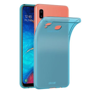 Custom moulded for the Samsung Galaxy A20, this blue FlexiShield case by Olixar provides slim fitting and durable protection against damage.