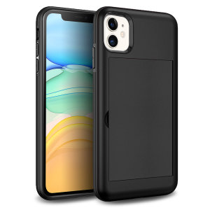 Protect your iPhone 11 from bumps, scrapes and drops with the Amour Vault case in black from Olixar. Featuring a protective hybrid design and a concealed storage area which holds up to two credit cards or ID.