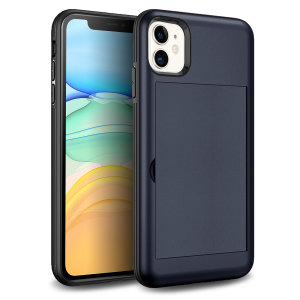 Protect your iPhone 11 from bumps, scrapes and drops with the Amour Vault case in navy from Olixar. Featuring a protective hybrid design and a concealed storage area which holds up to two credit cards or ID.