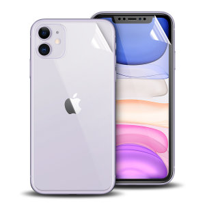 Keep your iPhone 11 in pristine condition all over with this Olixar scratch-resistant full cover film screen protector 2-in-1 pack. Features 2 interlocking screen protectors that fully cover the back and front of your phone.