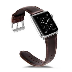 Olixar Genuine Leather Apple Watch 44mm / 42mm Strap - Brown