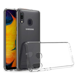 Custom moulded for the Samsung Galaxy A20. This clear Olixar ExoShield tough case provides a slim fitting stylish design and reinforced corner shock protection against damage, keeping your device looking great at all times.