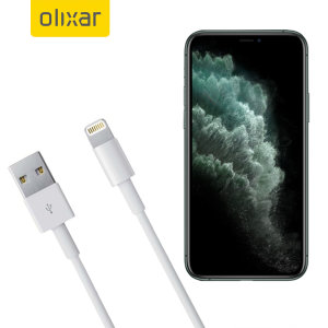Olixar iPhone 11 Pro Max Lightning to USB Charging Cable - White 1m