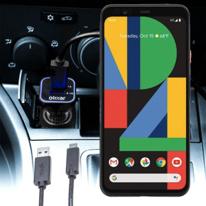 Keep your Google Pixel 4 fully charged on the road with this compatible Olixar high power dual USB 3.1A Car Charger with an included high quality  1m USB to USB-C charging cable.