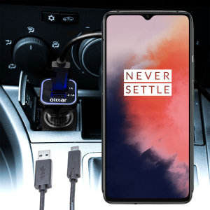 Keep your OnePlus 7T fully charged on the road with this compatible Olixar high power dual USB 3.1A Car Charger with an included high quality  1m USB to USB-C charging cable.