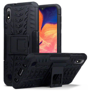 Protect your Samsung Galaxy A10 from bumps and scrapes with this black ArmourDillo case from Olixar. Comprised of an inner TPU case and an outer impact-resistant exoskeleton, with a built-in viewing stand.
