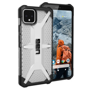 The Urban Armour Gear Plasma semi-transparent tough case in Ice for the Google Pixel 4 features a protective case with a brushed metal UAG logo insert for an amazing rugged and stylish design.