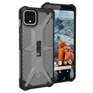 The Urban Armour Gear Plasma semi-transparent tough case in Ash for the Google Pixel 4 features a protective case with a brushed metal UAG logo insert for an amazing rugged and stylish design.