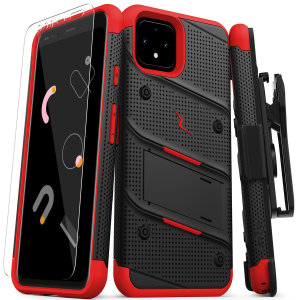 Equip your Google Pixel 4 with military-grade protection and superb functionality with the ultra-rugged Bolt case in Black & Red from Zizo. Coming complete with a handy belt clip and integrated kickstand.