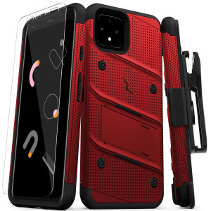Equip your Google Pixel 4 XL with military-grade protection and superb functionality with the ultra-rugged Bolt case in red and black from Zizo. Coming complete with a handy belt clip and integrated kickstand.