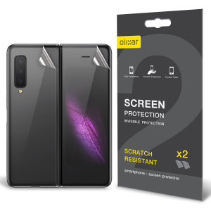 Keep your Samsung Galaxy Fold in pristine condition with this Olixar scratch-resistant back TPU screen protector 2-in-1 pack, designed to fully cover the back.