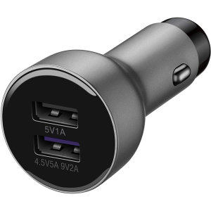 A genuine Huawei Mate 30/Mate 30 Pro fast charging dual USB car charger in silver. Incredibly stylish and fast, this charger is a must-have, thanks to its sleek design and super fast charging rates. Includes an Official Huawei USB-C Cable.