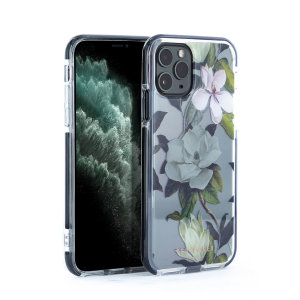 Form-fitting and bulk-free, the Opal Clip case for iPhone 11 Pro from Ted Baker in clear sports an ethereal, otherworldly floral aesthetic while also offering superlative anti-shock protection for your device from drops, scrapes and other damage.